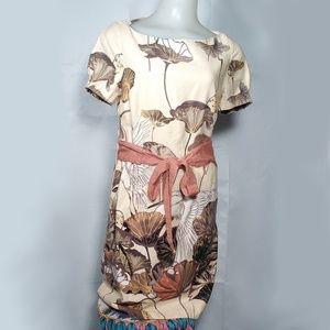 Anthro Floreat Snowy Egret Shift Dress Bird Print